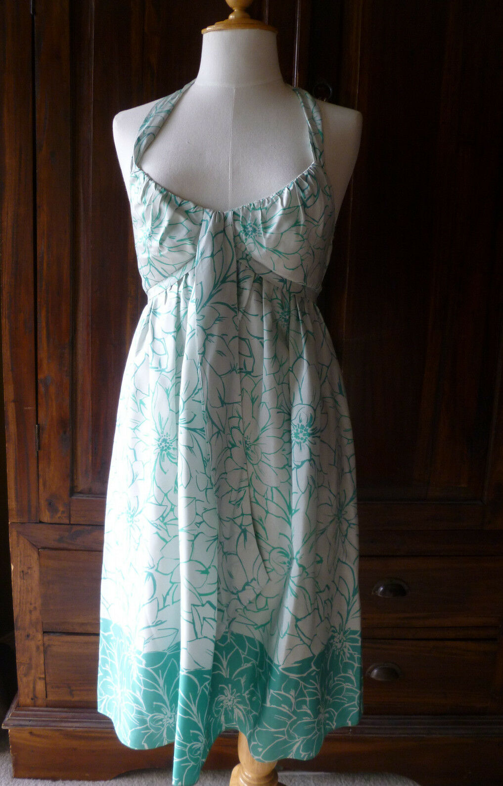 Max and Cleo silk dress empire waist halter top mint green - lined