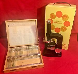 Gilbert-Microcraft-Microscope-Vintage-1960s-with-38-Slides-RD0497