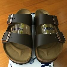 cfb3ae74454 Birkenstock Arizona Smooth Leather Unisex Shoes Slides Sandals Classic  Footbed Dark Brown EU 36   US