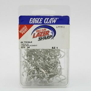 Eagle Claw Lazer Sharp L777F Size 1 4X Treble 50 Pack Fishing Hooks Pick a Size