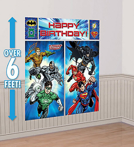 JUSTICE LEAGUE Scene Setter HAPPY BIRTHDAY party wall decor kit 6/' Superheroes