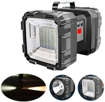 Super Bright Rechargeable Double Head LED Flashlight/Worklight - Built In Power Bank - 7 Light Modes