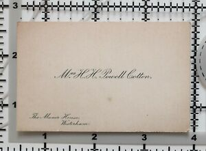 ANTIQUE-CALLING-CARD-MRS-H-POWELL-COTTON-MANOR-HOUSE-WESTERHAM