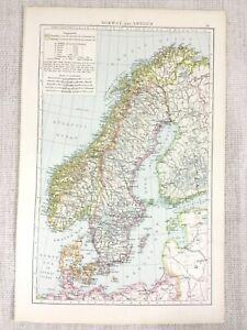 1898-Antik-Map-Of-Norwegen-Schweden-Die-Baltic-Sea-Deutsche-Ozean-Alte-19th
