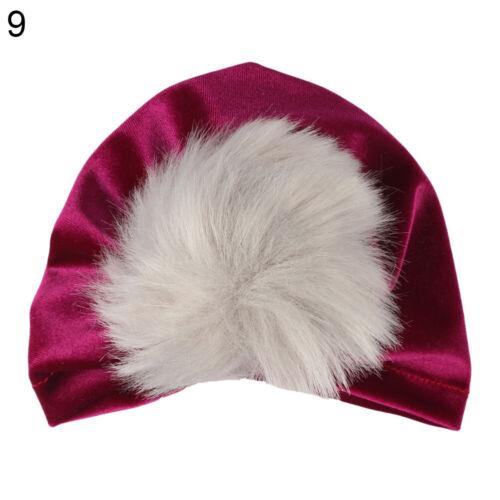ALS/_ Toddler Girls Boys Baby Fur Pom Turban Head Scarf Beanie Cap Hat Headwe GI