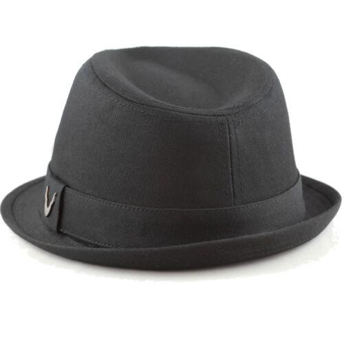 BLACK HORN Fedora Unisex Cotton Wool Blend Herringbone Trilby Fedora Hat