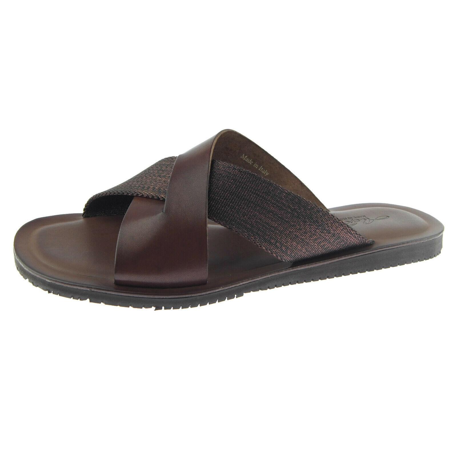 Alex D  Malibu  homme en cuir Slide Sandales, fabriqué en Italie, marron