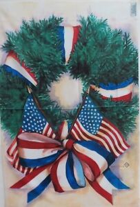 """Patriotic Wreath Standard House Flag by Toland 24"""" x 36"""", American Flag #1337"""