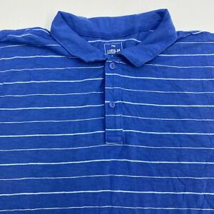 Gap-Lived-in-Polo-Shirt-Men-039-s-3XL-XXXL-Short-Sleeve-Blue-Striped-100-Cotton