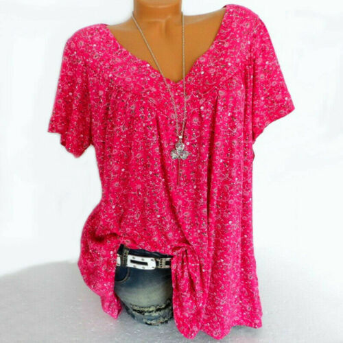 Women Floral V Neck T Shirt Short Sleeve Blouse Ladies Summer Party Casual Tops