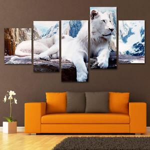 5Pcs-White-Lion-Canvas-Print-Painting-Wall-Art-Picture-Home-Room-Decor-AH