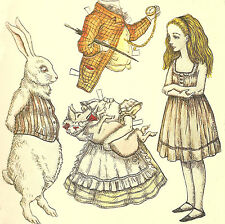 Vintage Alice and White Rabbit Paper Doll 8x8 Handmade Fabric Block