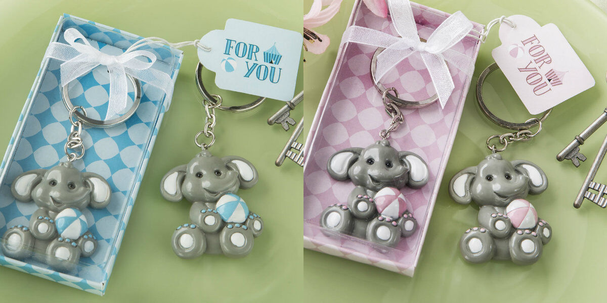 Set of 40 Adorable rose or bleu Baby Elephant Keychain Baby Shower Favors