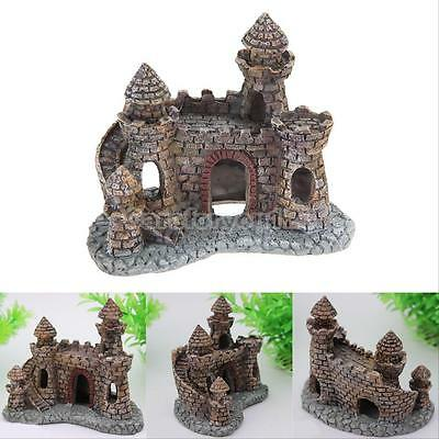 Aquarium Castle Decoration Fish Tank Decor Ornament Aquatic Animal Shrimp Cave T