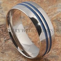 Titanium Ring Men Or Women Wedding Band 2 Blue Lines Bridal Jewelry Size 6-13