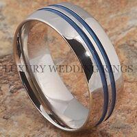 Titanium Ring Men Or Women Wedding Band 2 Blue Lines Bridal Jewelry Size 6-13