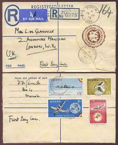 GHANA 1958 STATIONERY REGISTERED WINNEBA P...AIRCRAFT + BIRDS SET FDC