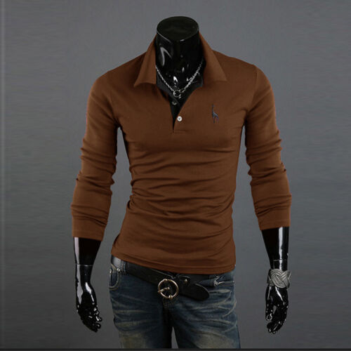 Men Stylish Slim Fit Casual T-shirts Polo Shirt Long Sleeve Solid Tee Tops 3XL