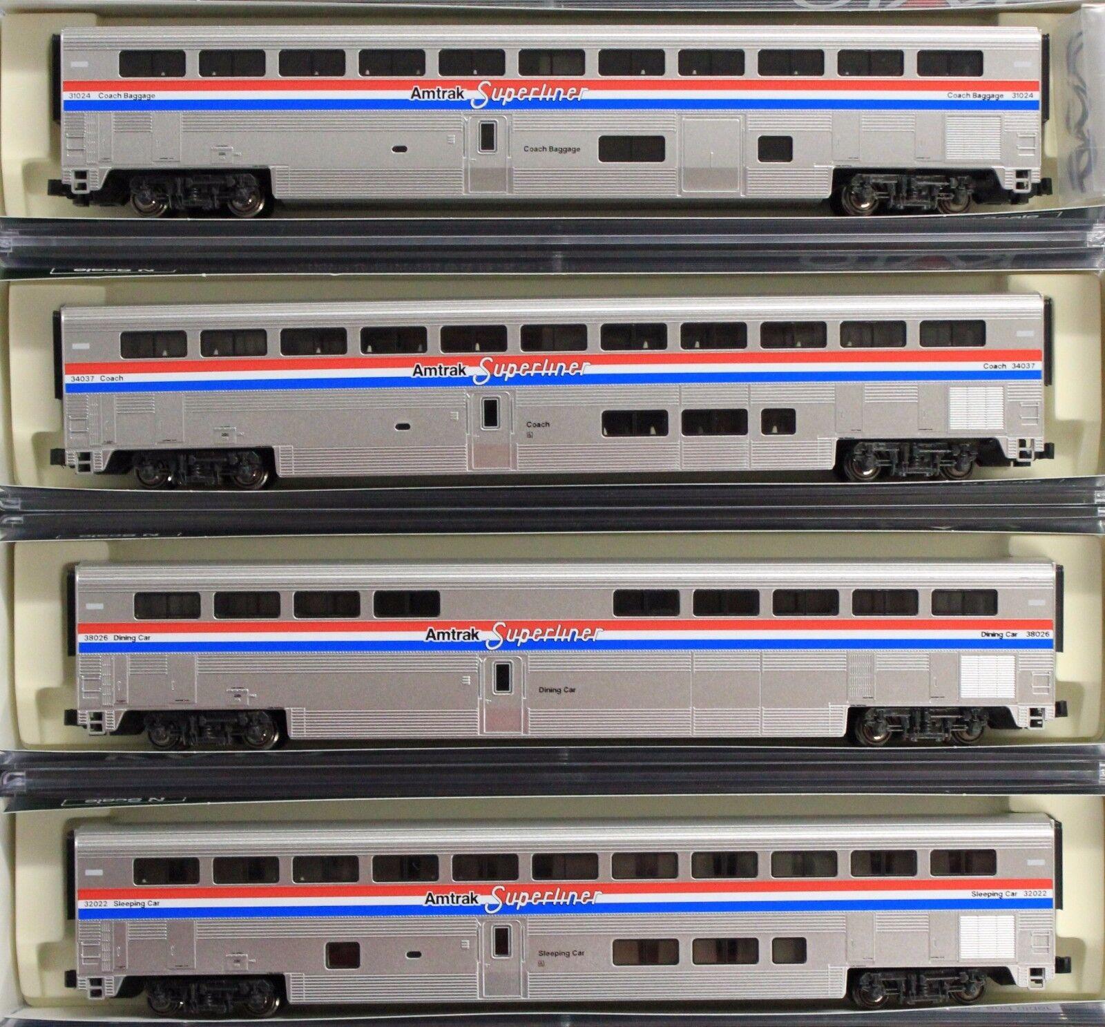 Escala N-Kato 106-3517 Amtrak súperliner fase III 4-Coche Set A-difícil de encontrar