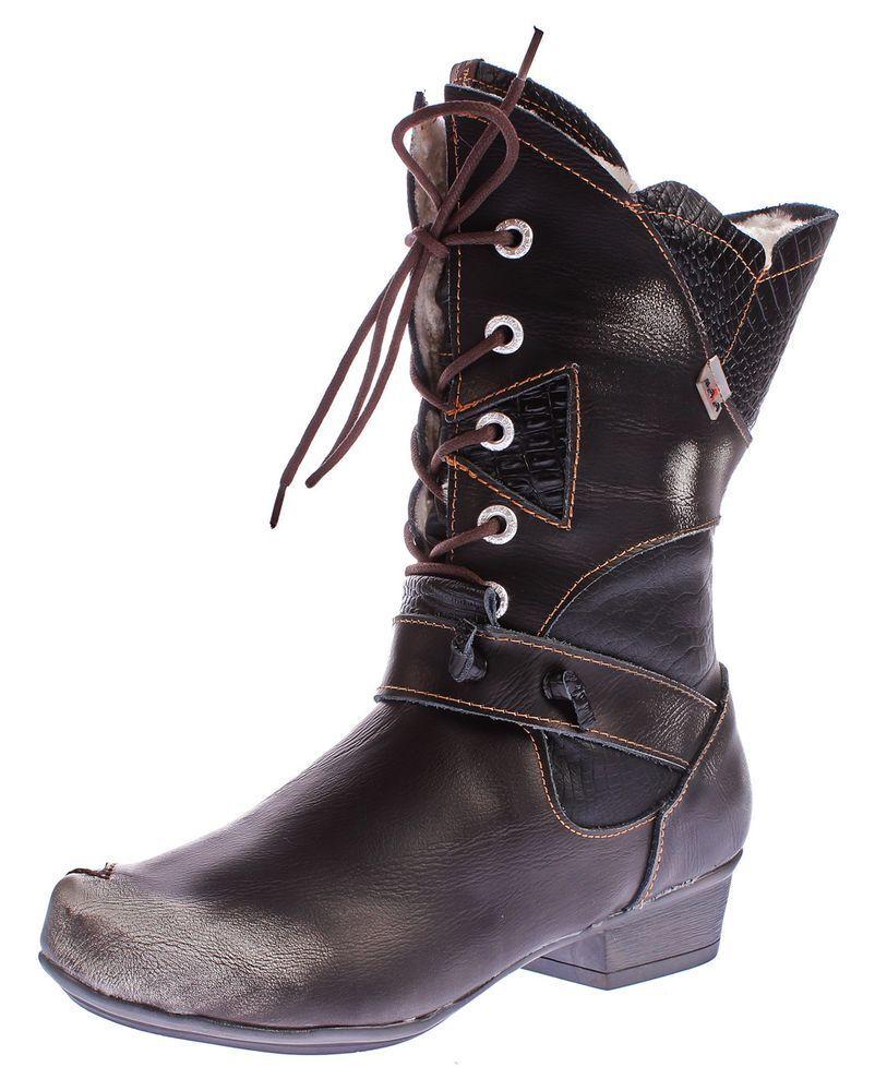 TMA Damen Winter Stiefel TMA 8166 echt gefüttert Leder Schuh gefüttert echt Comfort Stiefel 36-42 57131d