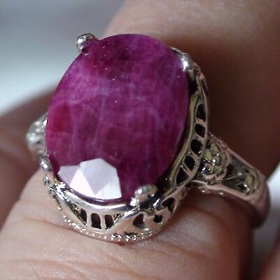 8.25 ct NATURAL! UNHEATED/UNTREATED RUBY  RING 925 STERLING SILVER.SIZE 7.25.