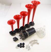 5 Pc La Cucaracha 12v Electric Air Horn Pneumatic Compressor Kit Truck Car Red