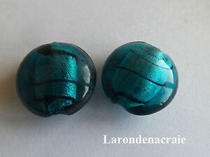 4-PERLES-RONDES-PLATES-BLEU-en-verre-feuille-d-039-argent-20mm