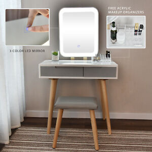 Details About Makeup Vanity Dressing Table Set W Stool Led Mirror 2 Drawers Jewelry Organizers