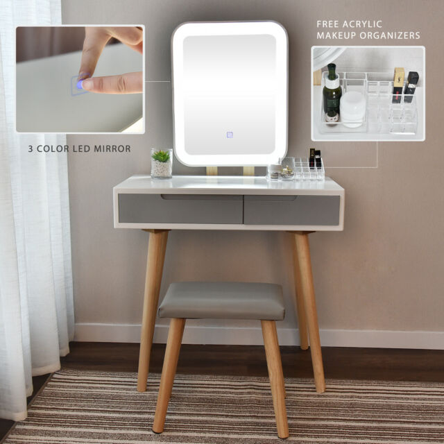 Ordinaire Makeup Vanity Dressing Table Set W/Stool Led Mirror 2 Drawers Jewelry  Organizers