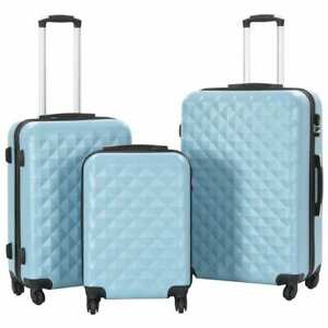 vidaXL-3-Piece-Hardcase-Trolley-Set-Blue-ABS-Travel-Luggage-Bag-Suitcase-Box