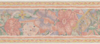 Abstract Vintage Peach Flower Violet Pattern 2 Roll 30 Feet 30' Wallpaper Border