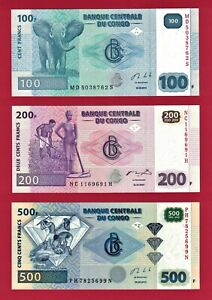 Set of 3 x 2013 CONGO NOTES: 100 Francs (P-98) & 200 Fr (P-99), & 500 Fr (P-96b)