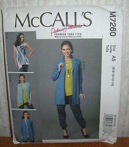 Womens/Misses Vest Jacket Tops Pants Sewing Pattern/McCall's M7260/SZ 6-14/UCN