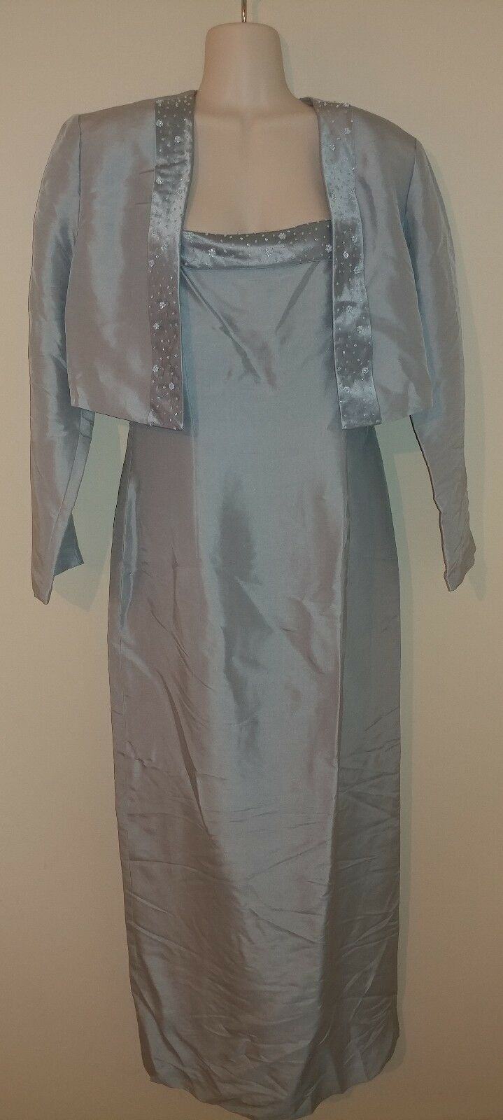 Adrianna Papell Occasions Silk Long Lined Mother Bride Groom Wedding Blau NWT 10