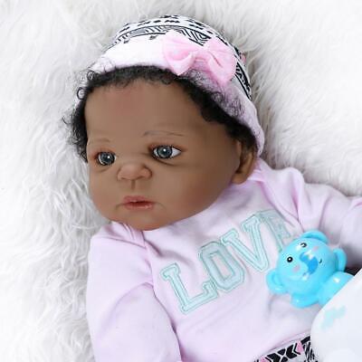 """Reborn Baby Black African American 22/"""" Full Body Silicone Vinyl Girl Doll Bath"""