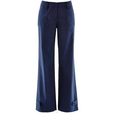 Damen Bengalin Stretch Hose leger Viskose Mix blau Big Size  50 bis 56 neu 12814