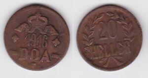 Zielstrebig 20 Heller Messing Münze Deutsch Ostafrika Doa 1916 J.727 B (118729) Schrecklicher Wert