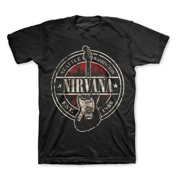 NIRVANA Est 1988 Guitar Stamp T-Shirt New Authentic S M L XL 2XL