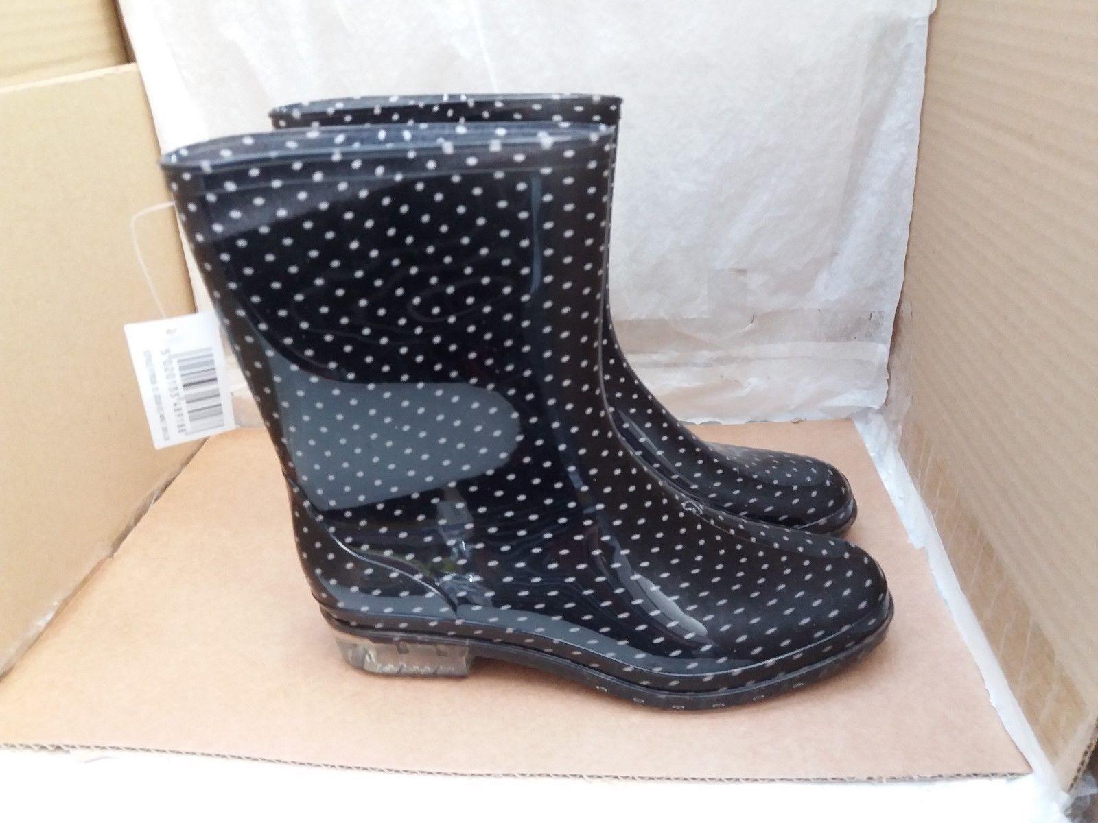 Ladies Short 'Mud Rocks' Fashion Wellington Boots Polka Dot Design FT918 - UK 7