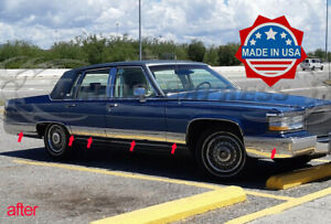 1987-1992-Cadillac-Fleetwood-Brougham-Chrome-Rocker-Panel-Trim-FL-6-1-4-034-12Pc