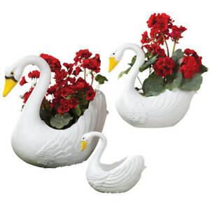 Swan-Garden-Planters-Set-of-3-Plastic-Garden-Yard-Art-Indoor-Outdoor-Lawn-Decor