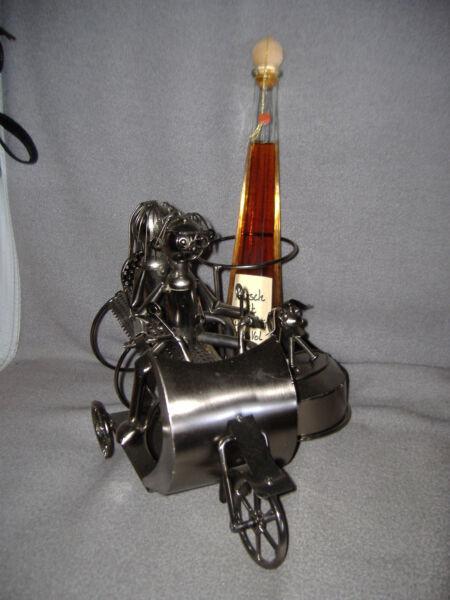 100% Wahr Art Deco Flaschenhalter Metall, Super Geschenk Für Motorrad Fahrer