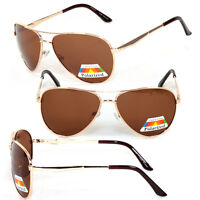 Classic Polarized Men / Women Aviator Sunglasses Spring Hinge Temple - Gold Ig01