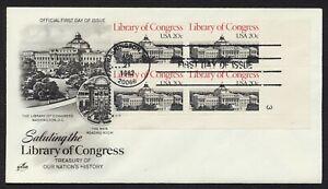 #2004 20c Biblioteca De Congress-Pb 3 LR, Art Craft FDC Cualquier 5=