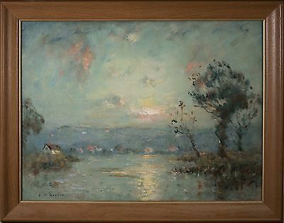 "Joseph Henry Boston Oil Painting ""Early Sunrise"", Exhibited at Carnegie Hall!"