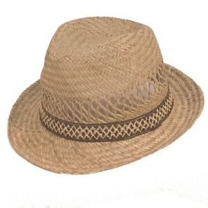 Mens-Straw-Fedora-Hat-Summer-Trilby-Style-Cap-Natural-with-Brown-Band
