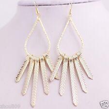 gorgeous 9k Yellow Gold Filled Elegant Ear Stud dangle hoop Earrings e514