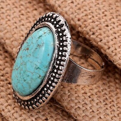 Nice Jewelry Tibetan Silver Carved Round Turquoise Adjustable Women Ring