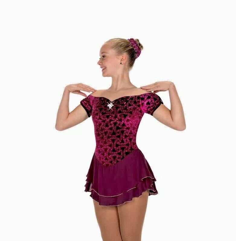 NEW  Figure Skating Dress Jerry's Gemology Garnet Wine 213 Adult Large  simple and generous design