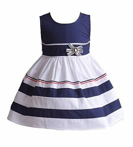 768059f65 Detalles de Cinda Aro Algodón Vestido Niña de Fiesta Azul Rojo 6 9 12 18 24  Meses 3 4 5 6
